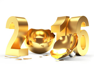Golden 2016 New Year sign and empty broken Christmas ball isolated on white background