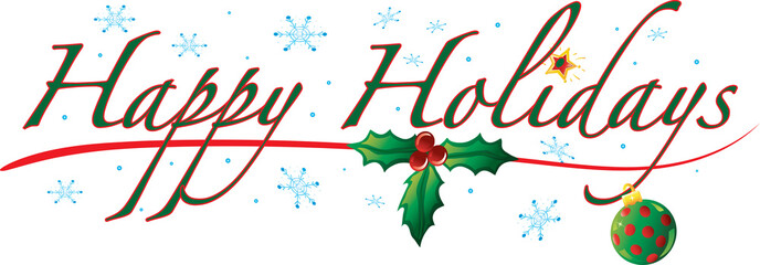 Colorful text with images that says Happy Holidays