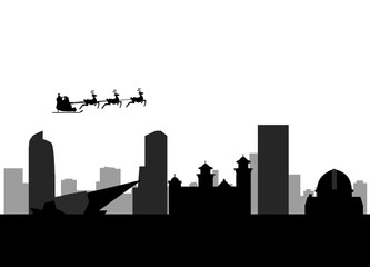 santa flying over the city of denver