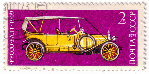 """USSR - CIRCA 1973: A Stamp printed in USSR shows Russo-Balt, 1909, series of images """"Vintage cars USSR"""", circa 1973"""