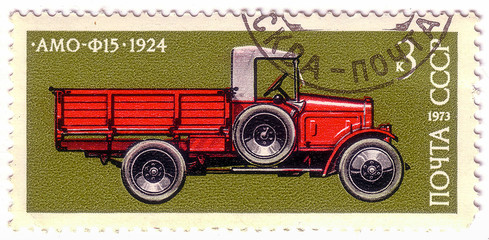 "USSR - CIRCA 1973: A Stamp printed in USSR shows shows AMO-F-15 the first Soviet truck, series of images ""Vintage cars USSR"", circa 1973"