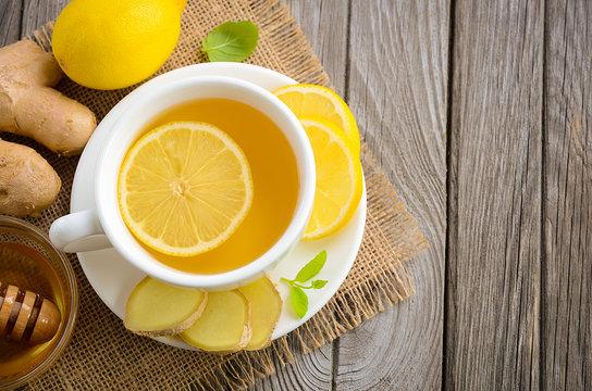Chamomile tea with lemon, ginger and honey