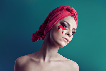 Beauty original woman portrait with red color