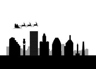santa flying by city Baltimore City