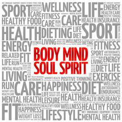 Body Mind Soul Spirit word cloud background, health concept