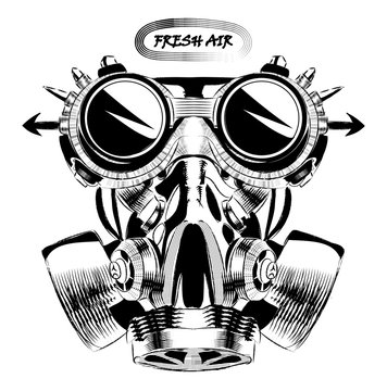 Steampunk vintage design vector drawing. gas mask punk respirator.