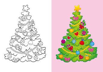 Coloring Book Of Decorated Christmas Tree