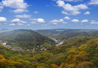 Panorama Of Autumn forest, Lilienstein Mountain