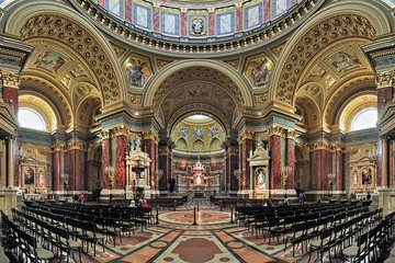 Interior of St. Stephen's Basilica in Budapest, Hungary