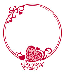 Round  silhouette frame with hearts and artistic drawn text
