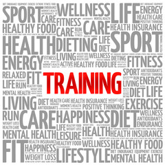 TRAINING word cloud background, health concept