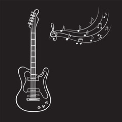 Electric guitar and music notes hand drawn vector. Vintage music background.