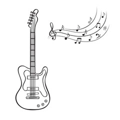 Electric guitar and music notes hand drawn vector. Music background.