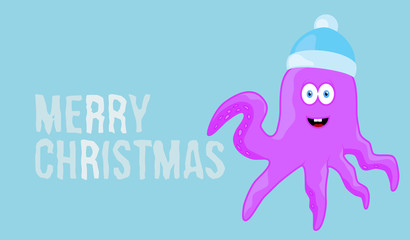Merry christmas wish on blue background card with text and cartoon animal character