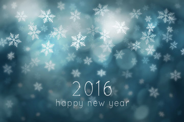 Lovely happy new year 2016 written with sparkle on snowy turquoise colored abstract bokeh background. Lovely blue colored happy new year greeting card copy space snowflake background illustration.
