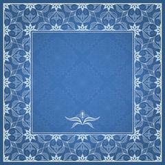 Filigree white frame on blue.