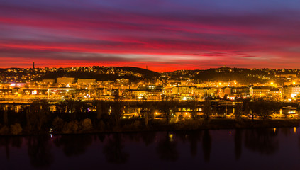 Wall Murals Florence View to the night small district in big city Prague at blue hour, Czech Republic.