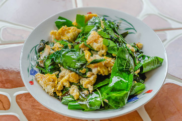 stir fried Melinjo  with egg