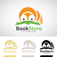 Book Worm Reading a Book Logo Icon