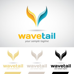 Yellow and Blue Fish Tail Logo Icon