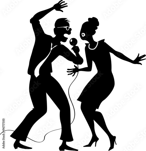 """""""Black EPS 8 vector silhouette of a cartoon couple singing ..."""