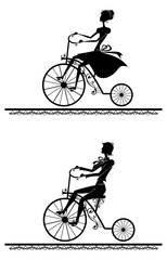 Man and woman riding on a retro bikes. Two silhouette.