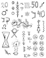Graphic black and white set with signs and symbols
