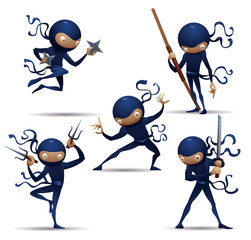 Vector Blue Ninja Warriors set. Cartoon image of five ninja warriors in blue traditional costumes, in various poses and with various weapons in the hands on a white background.