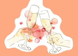 祝杯、ピンクの背景