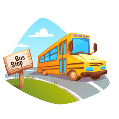 Vector illustration of school bus on background