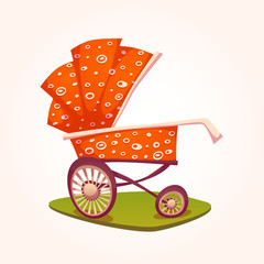 Vector illustration of flat red baby carriage on grass