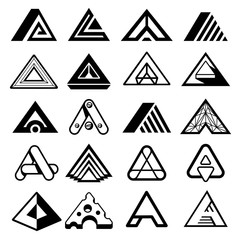 Wall Mural - Triangle shapes for A letter logo and monogram. Abstract geometric vector elements