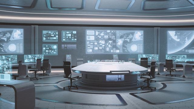 3D rendered empty, modern, futuristic command center interior