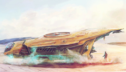 Futuristic spaceship landing on lost post apocalyptic planet concept art