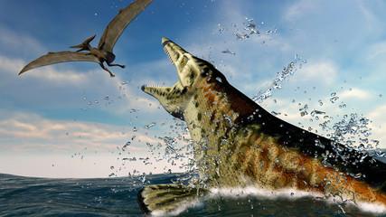 pteranodon and a predatory sea dinosaur
