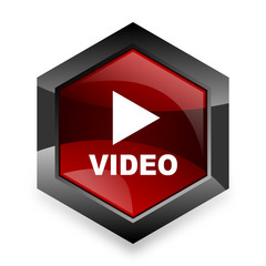 video red hexagon 3d modern design icon on white background