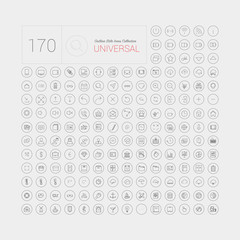 Set of 170 universal modern thin line icons for web and mobile