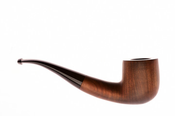 Smoking pipe isolated on white background, closeup