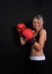 kick boxing girl, red black colors, gloves, isolated