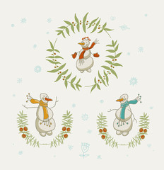 Christmas wreaths set with snowman and New Year graphic elements, holiday symbols