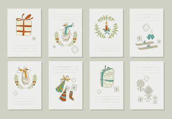 Hand drawn collection of romantic invitations to Christmas and New Year.   8 gentle cards.