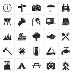 Black Camping and tourism icons - vector icon set