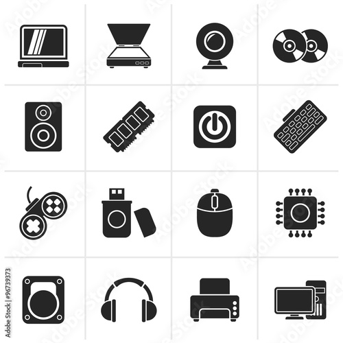 u0026quot black computer parts and devices icons