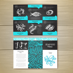 Vintage chalk drawing seafood menu design. Corporate identity