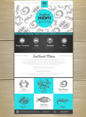 Seafood menu concept Web site design. Corporate identity.