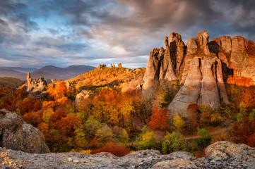Belogradchik rocks. Magnificent morning view of the Belogradchik rocks in Bulgaria, lit by the autumn sun.