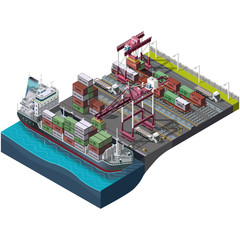 Sea and rail transportation of goods,delivery cargo.Vector set with industrial construction cranes.Loading,unloading of containers.Territory of the port warehouse.Shipping process.3D isometric concept