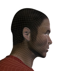 Conceptual 3D wireframe human male or man face or head