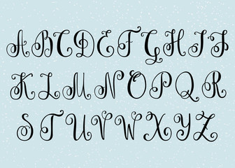 Handwritten brush flourish font.