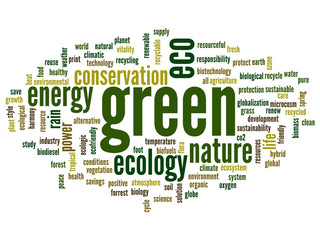 Conceptual green ecology word cloud